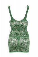 Vorschau: Grünes Netz-Kleid mit wellenförmigen Muster