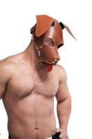 Vorschau: Mister B Leather Floppy Dog Hood Stitched - Brown