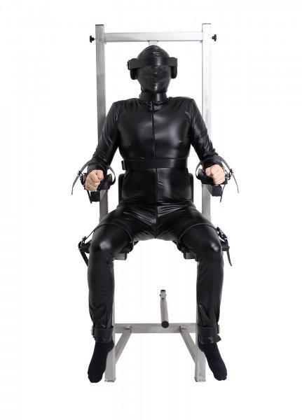 Sklavenstuhl aus Edelstahl mit Lederriemen