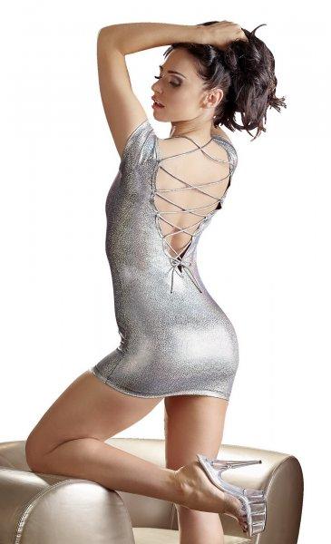 Minikleid aus silberfarbenem Folienstoff