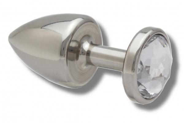 Buttplug 30 mm aus Edelstahl Kristall weiß