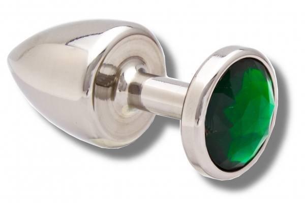 Buttplug 30 mm aus Edelstahl Kristall grün