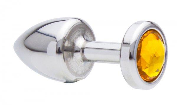 25 mm Einsteiger Buttplug aus Edelstahl mit Kristall