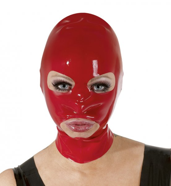 Rote Latex Kopfmaske