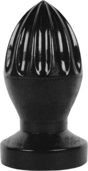 All Black Jürgen Analplug mit reizvollen Längstrillen 12x5,7cm