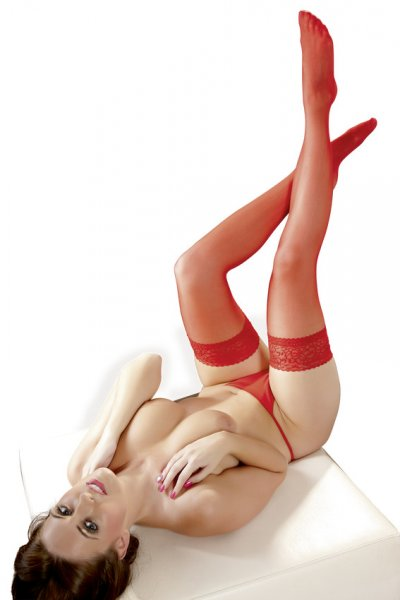 Glänzende halterlose Nylon Strümpfe in rot