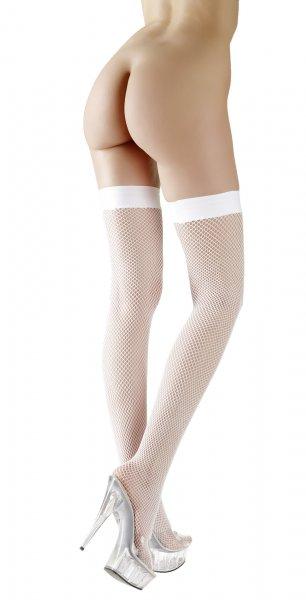 Sexy weiße, halterlose Netzstrümpfe