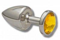 Vorschau: Buttplug aus Edelstahl Kristall  gelb