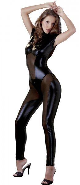Catsuit im schwarz-glänzenden transparenten Wetlook