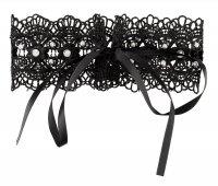 Vorschau: Schwarzes, gesticktes Halsband mit weißen Perlen
