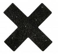 Vorschau: Glitzernde schwarze Nippel-Kreuze zum Aufkleben
