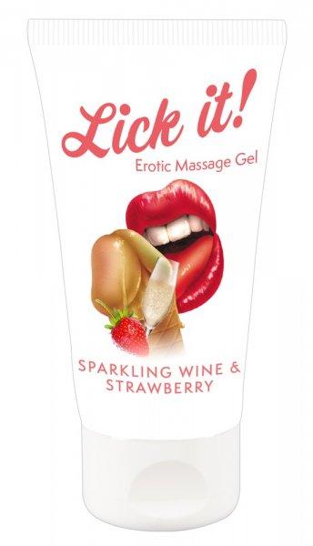 Erotic Massage Gel Sparkling Wine and Strawberry