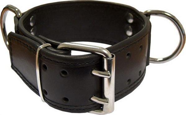 Breite Sklaven Halsfessel mit D Ringen