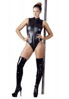 Vorschau: Reißverschluss-Body aus schwarzem Wetlook