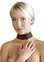 Vorschau: Schwarzes Spitzen-Halsband mit Ketten