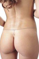 Vorschau: Silberfarbene Bikinikette, tropfenförmiger Perle