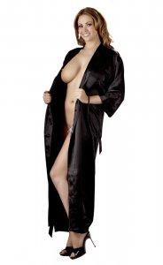 Langer, schwarzer Kimono