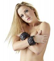 Vorschau: Leder Handfesseln schwarz