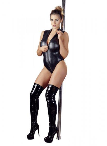Reißverschluss-Body aus schwarzem Wetlook