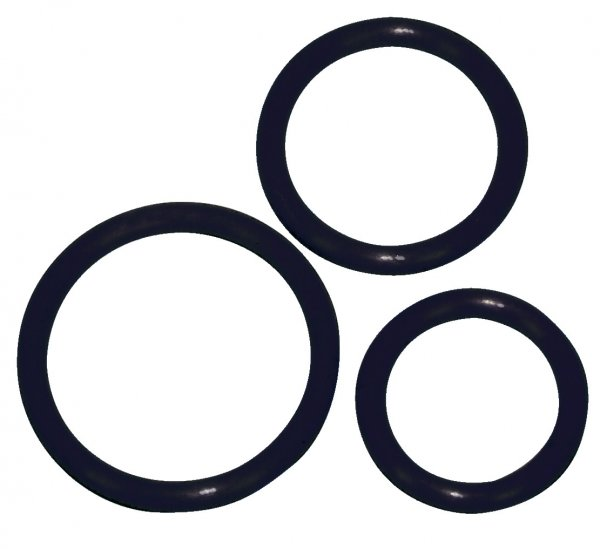 Schwarzes Penisring Trio -Ø 5 cm, 4,2 cm und 3,2 cm