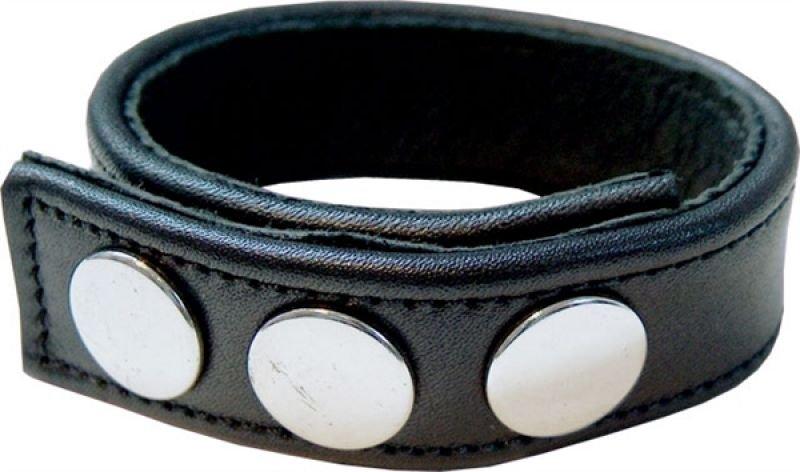 Schwarzer Cockstrap aus Leder mit Druckknöpfen