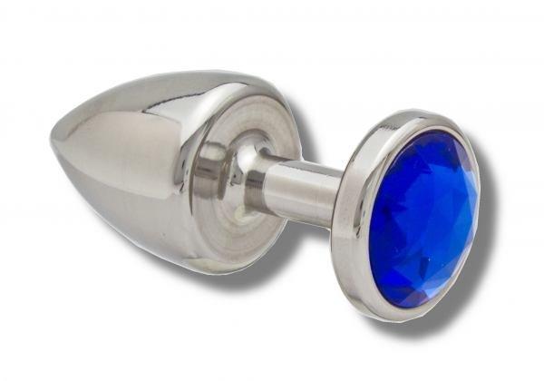 Buttplug aus Edelstahl Kristall  blau