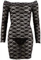 Vorschau: Langarm-Minikleid aus schwarzer Spitze
