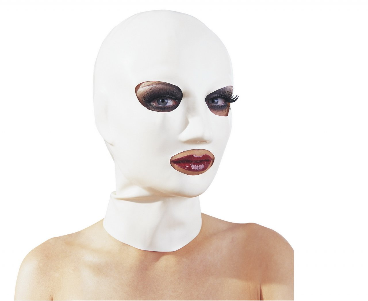 Weiße Latexkopfmaske mit Atemlöchern