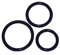 Vorschau: Schwarzes Penisring Trio -Ø 5 cm, 4,2 cm und 3,2 cm