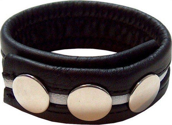 Penismanschette aus schwarzem Leder mit weißem Streifen