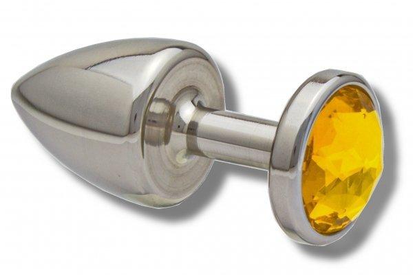 Buttplug aus Edelstahl Kristall  gelb