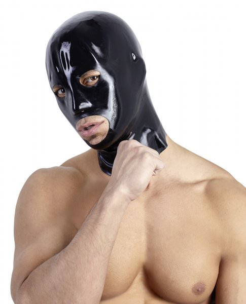Latex Kopfmaske in schwarz